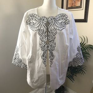 Bob Mackie Embroidered Open Front Jacket